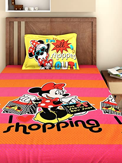 Buy Bombay Dyeing 180 Tc Cotton Single Kids Disney Cartoon Bedsheet With 1 Pillow Cover Multicolour Online At Low Prices In India Amazon In