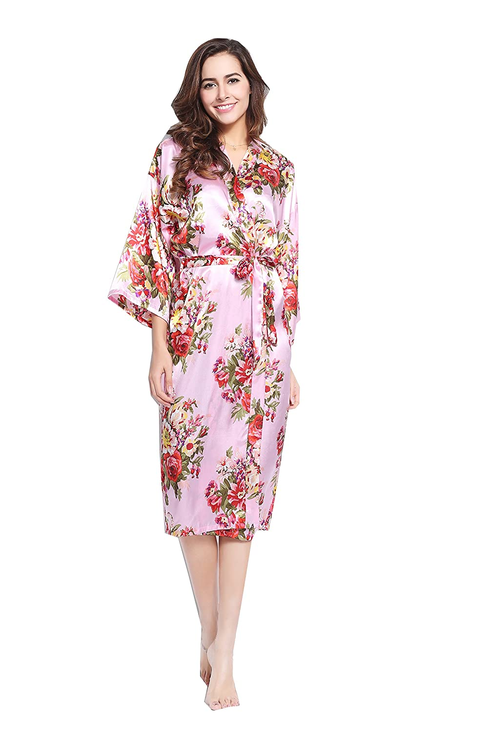 zarachilable 14 Color Long Robe Floral Kimono de la novia dama Robe ...