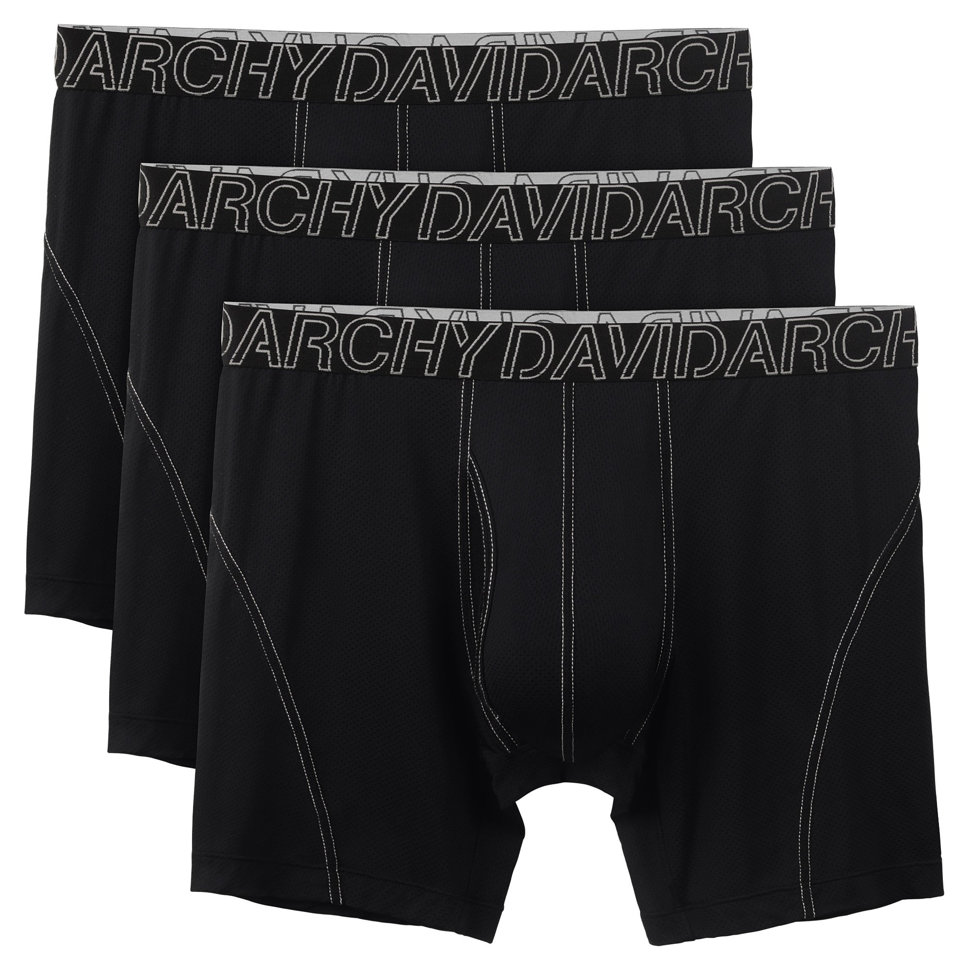 David Archy 3 Pack Men's Ultra Fast Dry Performance Boxer Briefs (L, Black-Mesh Fly)