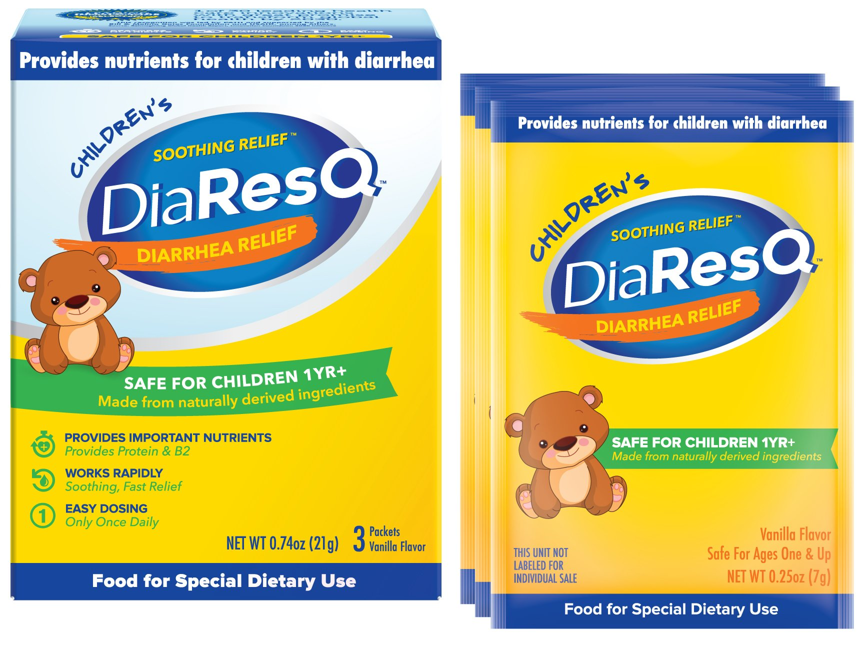 DiaResQ Childrens Soothing Diarrhea Relief - 3 Packets, Pack of 2
