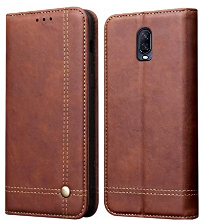 hot sale online e3adf 232b2 Pirum Magnetic Flip Cover for One Plus 6T / Oneplus 6T Leather Case Wallet  Slim Book Cover with Card Slots Cash Pocket Stand Holder - Brown