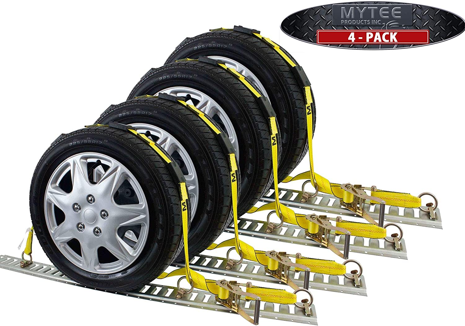 4 Pack Over The Tire Wheel Strap w//E-Track Fittings 2 x 10 Mytee Products