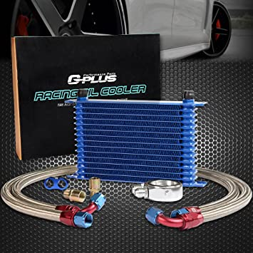 16 Row AN10-10AN Universal Engine AluminumTransmission Oil Cooler Kit Oil Filter Relocation Kit