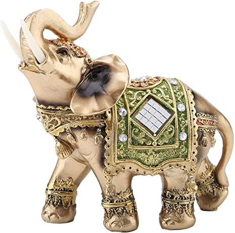 Amazon Com Kuidamos Brass Color Elegant Elephant Wealth Lucky Figurine For Office Home Decor Sculpture Gift Animal Figurines As Decorative Feng Shui Elephant Statue Green L Home Kitchen