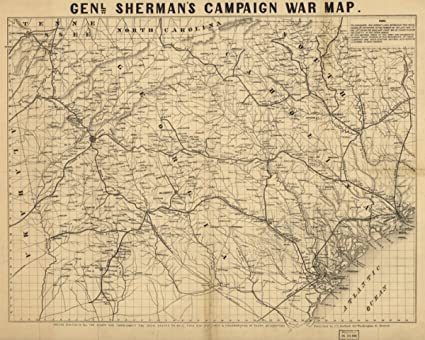 Amazon.com: 1864 Civil War Map Georgia & South Carolina Genl ...