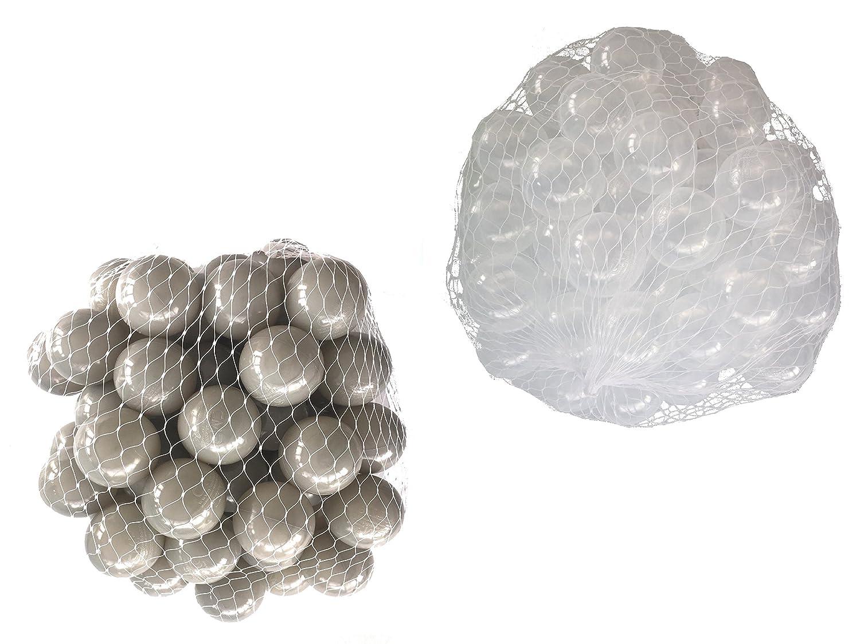 100 Bälle für Bällebad gemischt mix mit transparent und grau mybällebad
