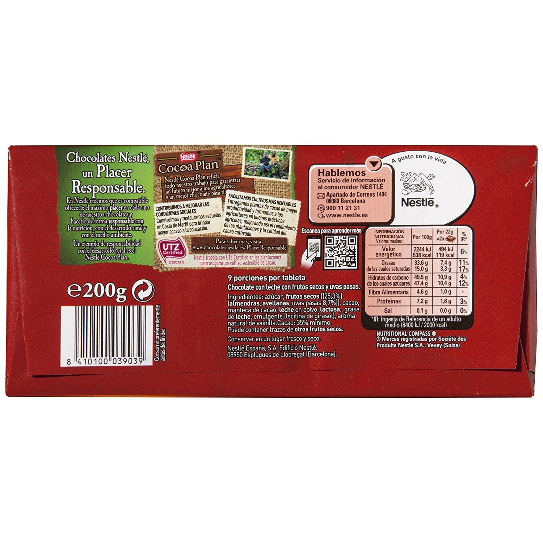 Nestlé Chocolate con leche con frutos secos - 200 gr - [Pack de 3]: Amazon.es: Alimentación y bebidas