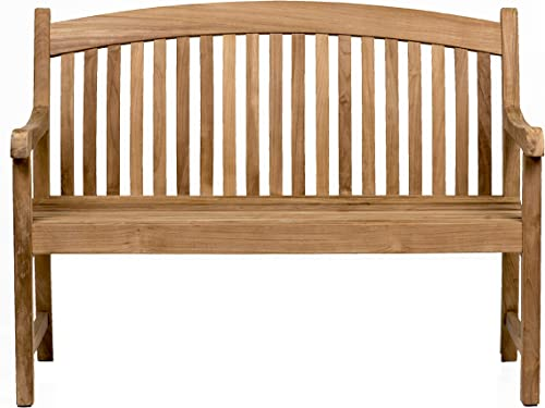 Amazonia Newcastle Patio Bench Made of Real Teak Ideal for Outdoors and Indoors, 48Lx26Wx35H, Light Brown