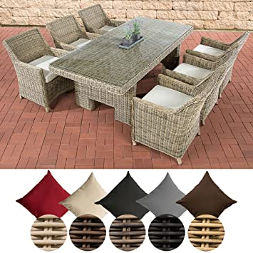 CLP Salon de Jardin SANDNES, 6 Places Assise + 1 Table en résine tressée  220 x 100 cm, Coussins Confortables Inclus, 5 mm rotin Rotin: Nature, ...