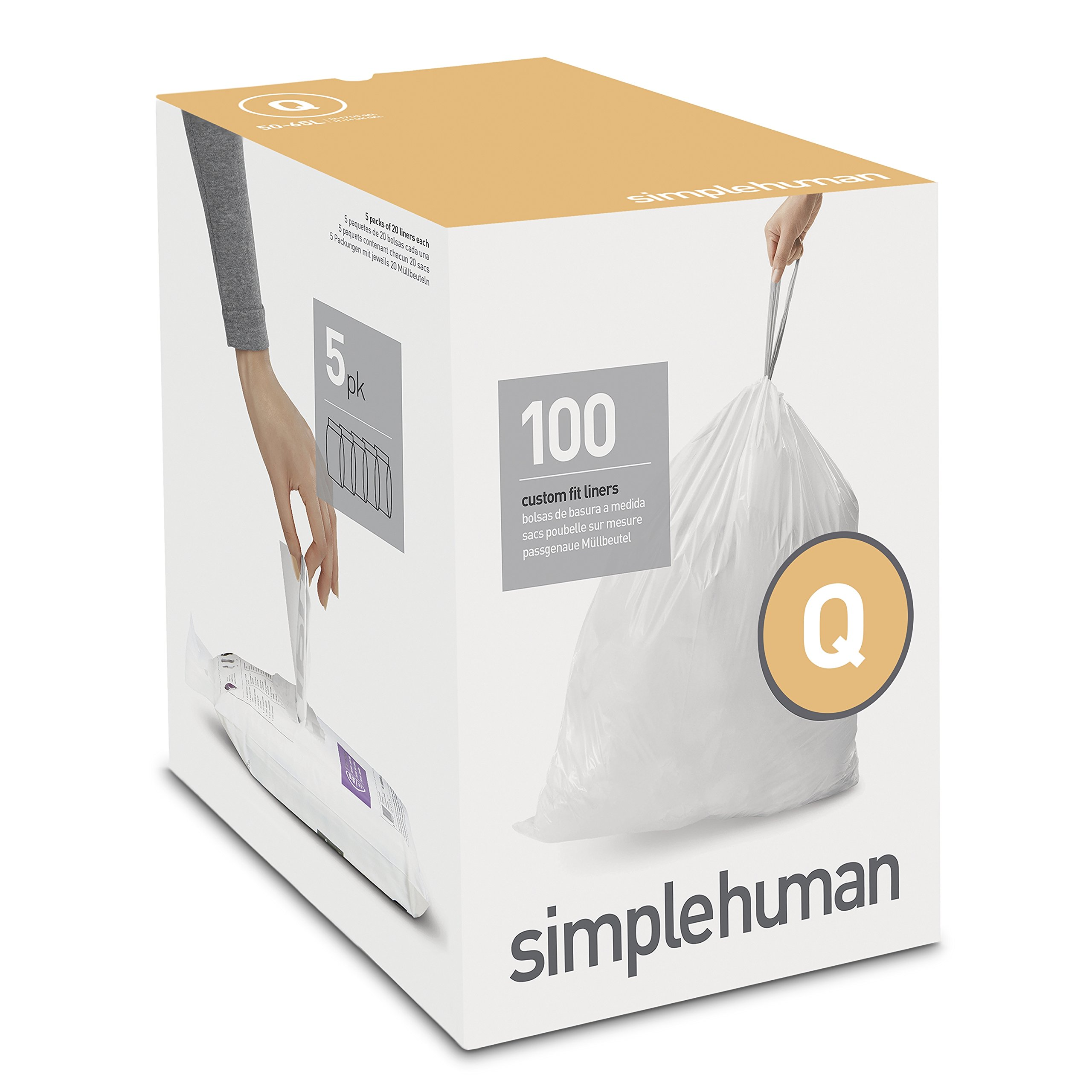 simplehuman Code Q Custom Fit Drawstring Trash Bags, 50 - 65 Liter / 13-17 Gallon, 100-Count Box by simplehuman