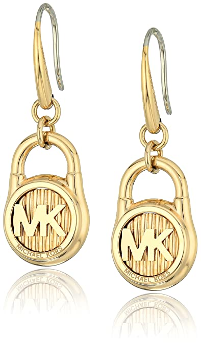 6bb9ad4bbbb7 Amazon.com  Michael Kors Gold-Tone Steel Padlock Drop Earrings  Jewelry