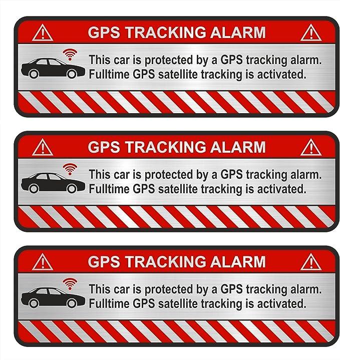 Finest Folia 9x Gps Aufkleber Fahrrad Motorrad Auto Alarm Warnung Anti Diebstahl Sticker Tracker Gesichert Aluminium Schliff Silber R054 Auto Auto