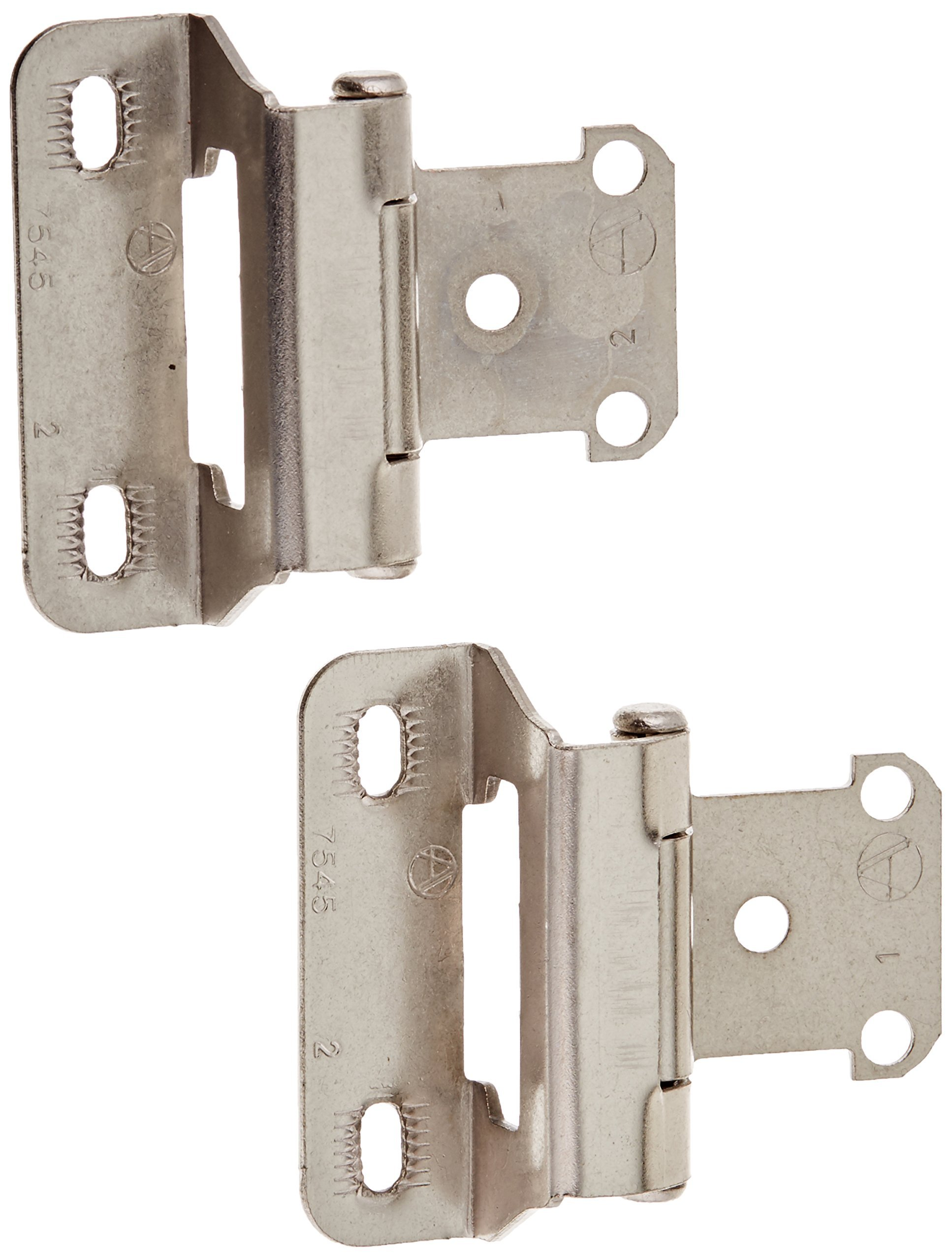 Amerock BP7566G10 12 Pack Self-closing Partial Wrap 1/4in. Overlay Hinge, Satin Nickel