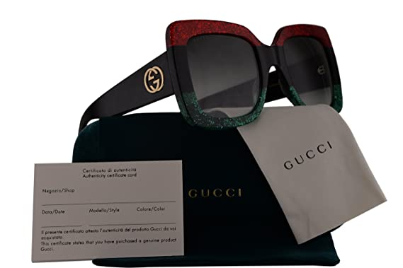 Gucci GG0083S Sunglasses Red Black Green w Grey Gradient Lens 001 GG 0083S 362caa2afce5