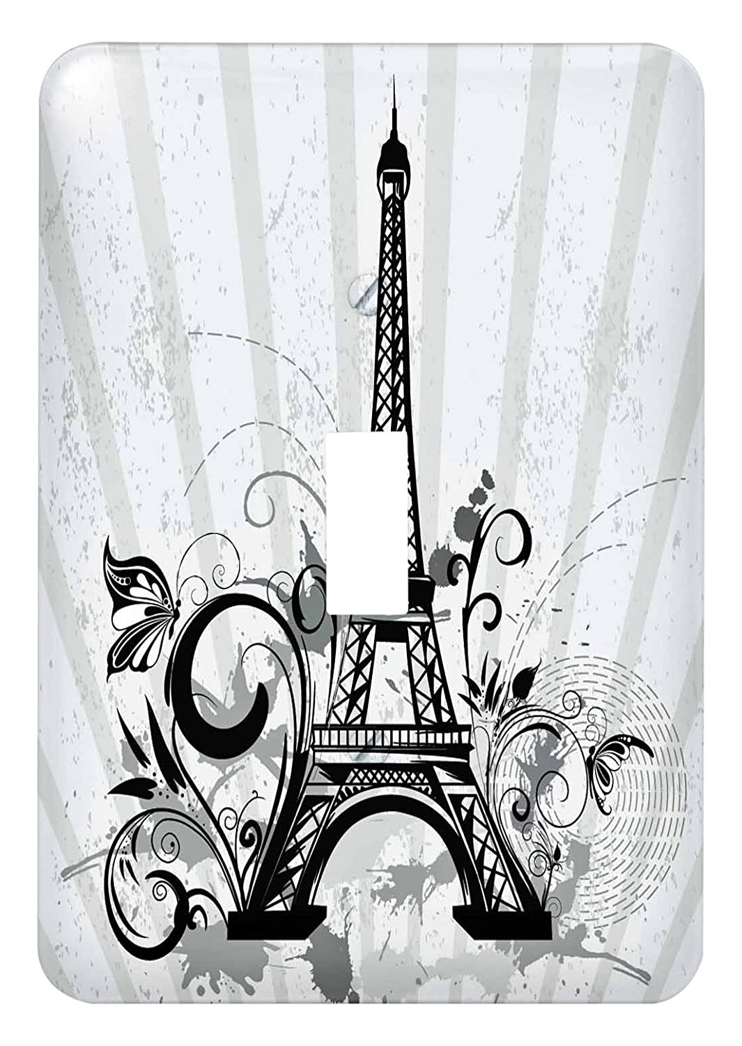 3dRose lsp_217722_1 Black and Steel Blue Eiffel Tower with Flourishes and Butterflies - single Toggle Switch