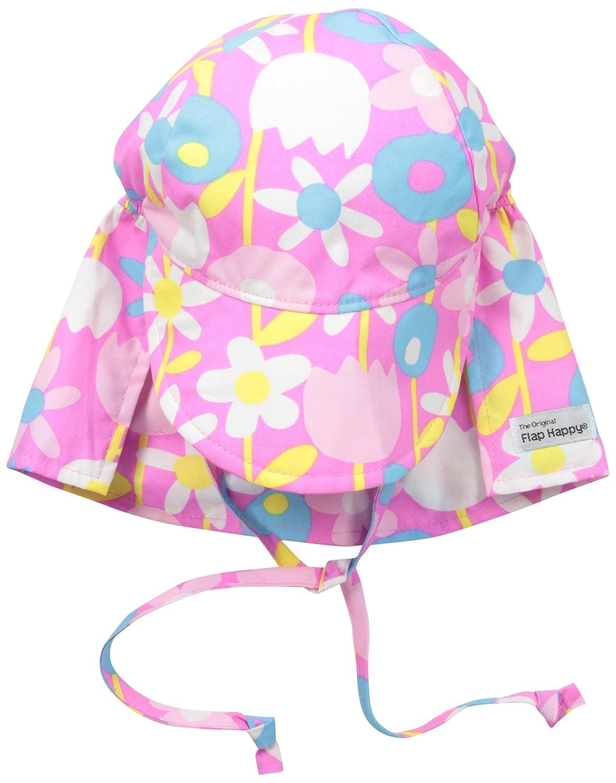 Flap Happy Girls ' UPF 50 +オリジナルフラップハットwith Ties B01AZ4IYDA S|Petal Pops Petal Pops S