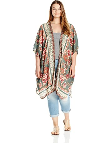 bad266af2 Angie Women's Plus Size Printed Kimono Duster Long Cardigan