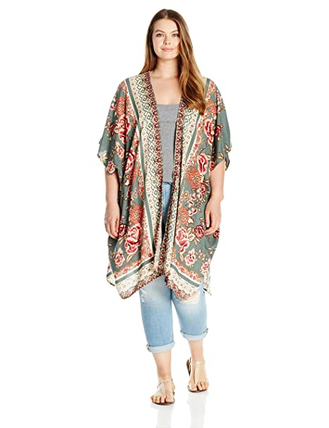 Angie Womens Plus Size Printed Kimono Duster Long Cardigan