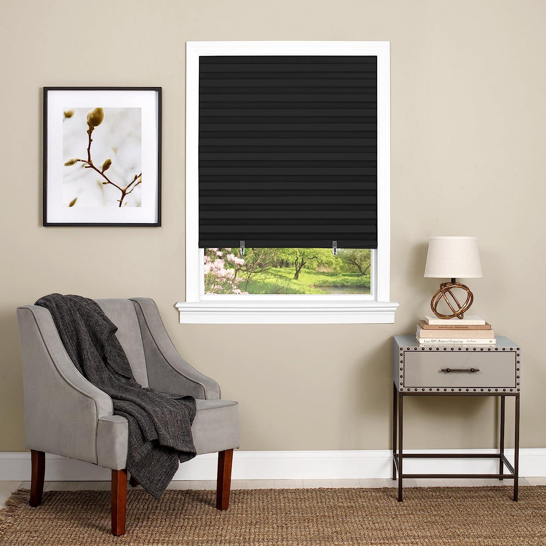 "Achim Home Furnishings 123CO48B24Cordless 1-2-3 Vinyl Room Darkening Pleated Window Shade, 48"" x 75"", Black"