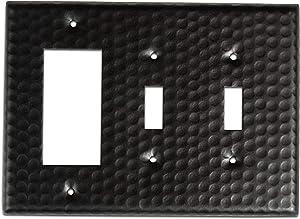 Monarch Abode 19112 Hand Hammered Double Rocker Wall Switch Plate, Matte Black