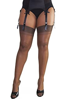 de6ac84e4 Bettie Page Lingerie Womens Ladies Hosiery Brown Point Heel Stockings  Chocolate