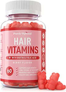 Premium Hair Vitamins Supplement - Gummy Vitamins w/ Biotin, Folic Acid, Vitamins A & D - Supports Faster Hair Growth and Promotes Healthy Hair, Skin, and Nails - 60 Non-GMO Berry Flavored Gummies