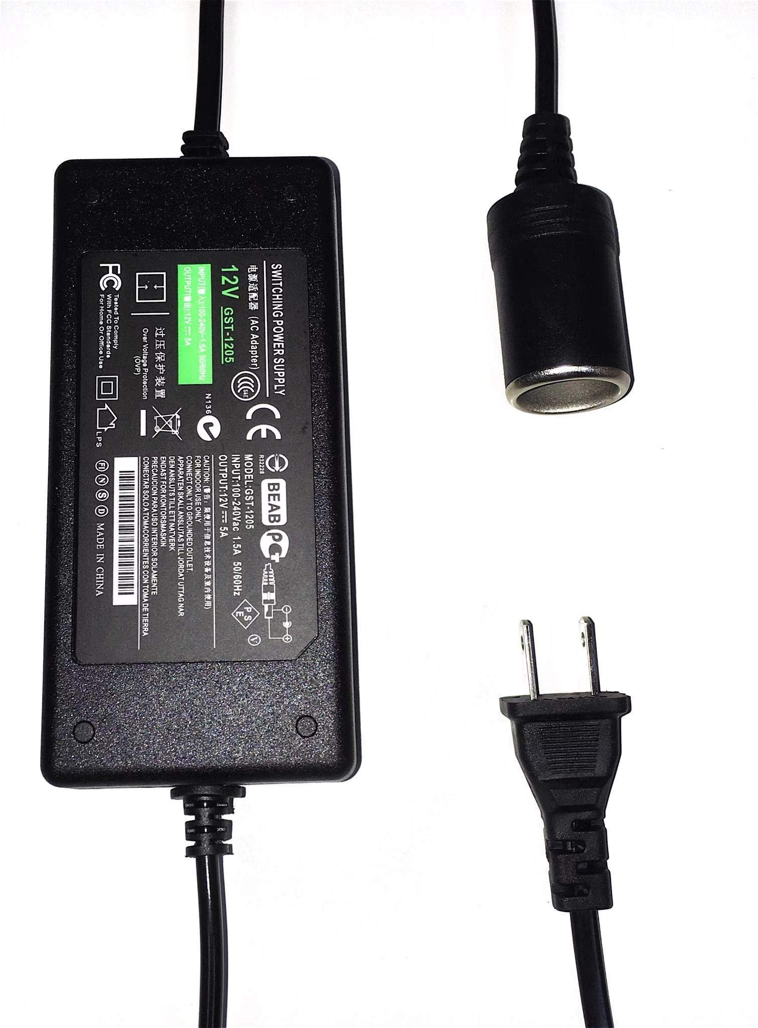 5 Amp 110V-240V AC to 12V DC Power Adapter, NALAKUVARA AC/DC Converter with Car Cigarette Lighter Socket for Car Vacuum Cleaner Car Fan Car Air Purifier Car MP3 Tire Inflator Other Car Devices by NALAKUVARA