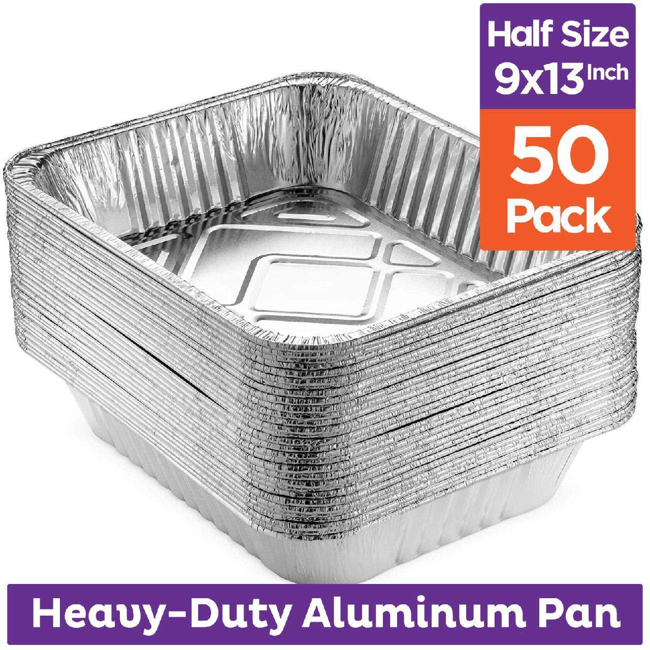 Heavy Duty 9 x 13 Aluminum Foil Pans [50 Pack] Half Size Deep Steam Table Pans, Premium Disposable Baking Pans