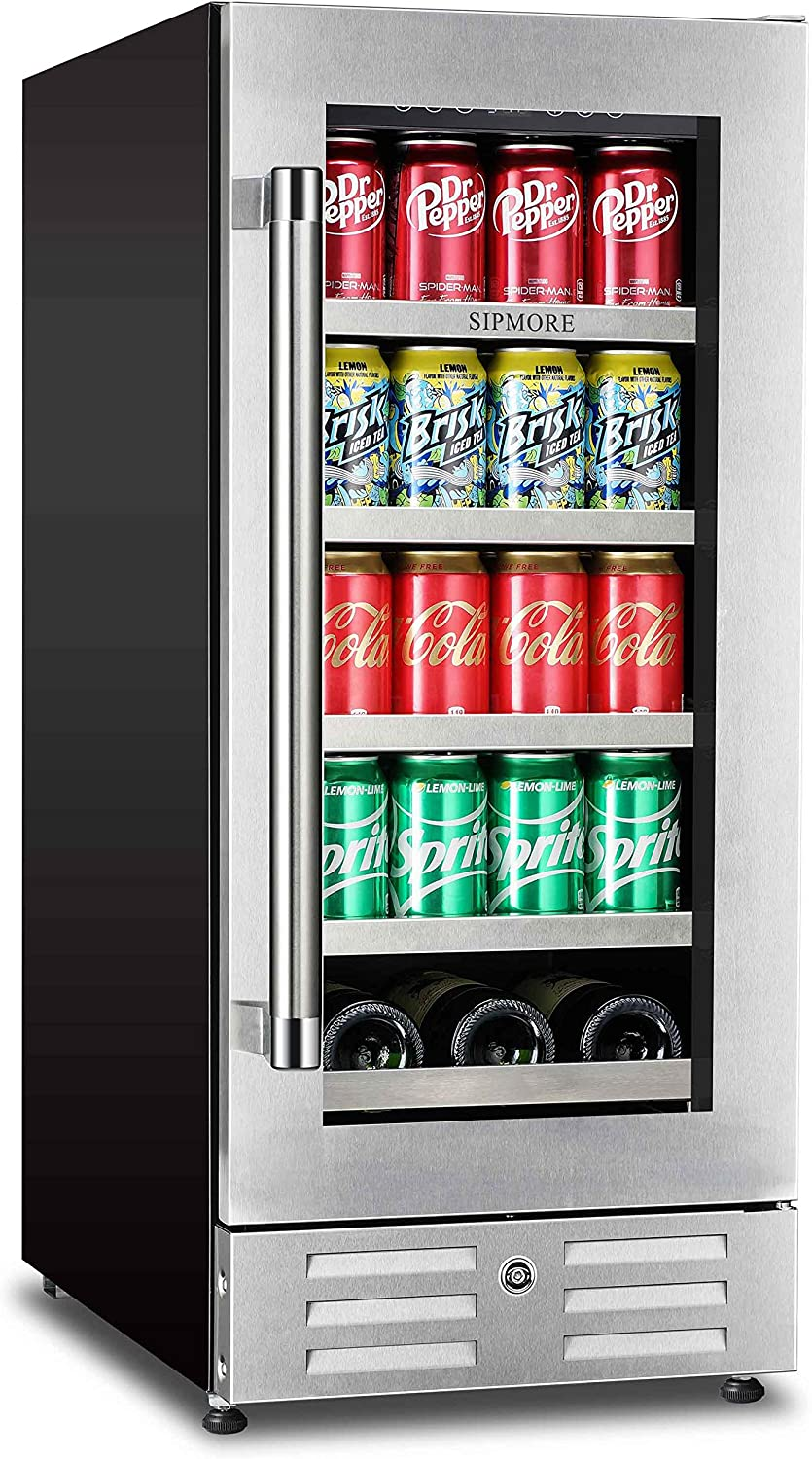 Sipmore Beverage Refrigerator and Wine Cooler 15 inch Stainless Steel Shelf 88 Can and 3 Bottle Built-in for Soda Beer, Powerful Drink Machine with Smart Control System