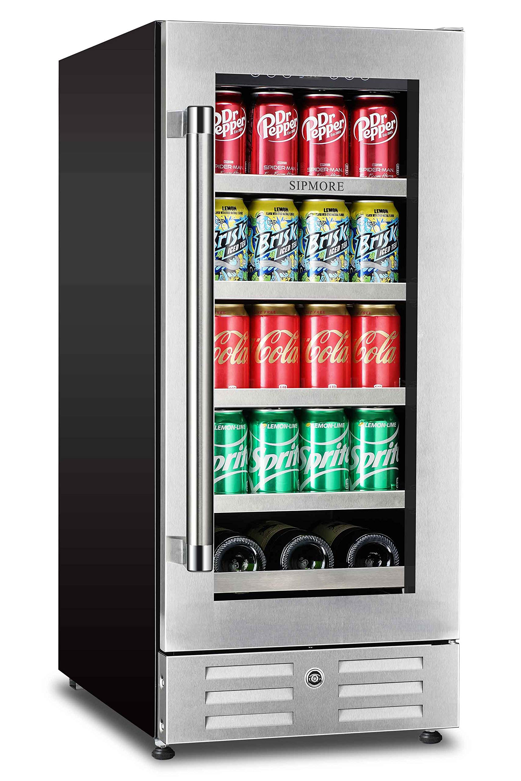 Sipmore Beverage Refrigerator and Wine Cooler 15 inch Stainless Steel Shelf 88 Can and 3 Bottle Built-in for Soda Beer, Powerful Drink Machine with Smart Control System by SIPMORE