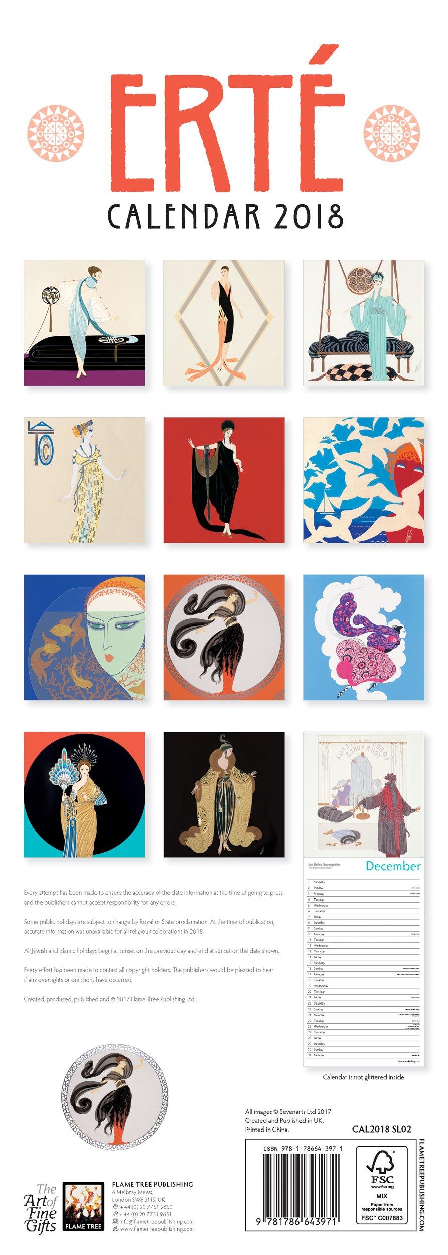 Erté slim calendar 2018 (Art Calendar): Amazon.co.uk: Flame Tree  Publishing: 9781786643971: Books