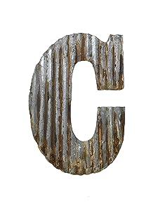 Farmhouse Rustic 24'' Wall Decor Corrugated Metal Letter C