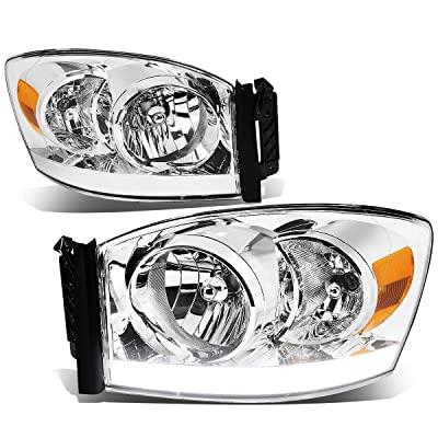 DNA Motoring LED DRL Front Bumper Headlight/Lamps Replacement, Chrome amber: Automotive