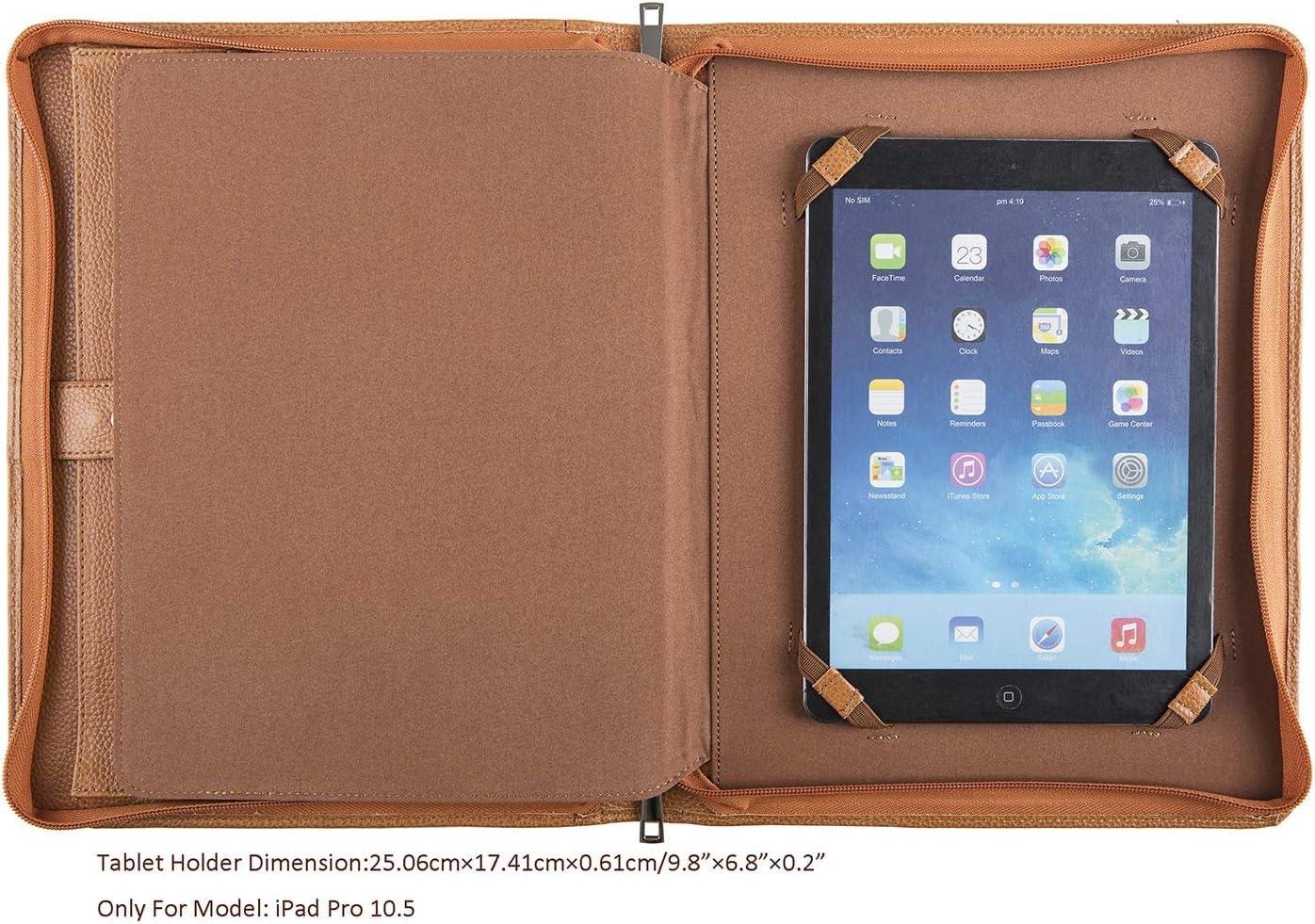 A4 Size Portfolio Padfolio Case,Business Organizer,A4 Document Folder,Black Cohokori Handmade Genuine Leather Conference Folder Zipped for iPad Pro 12.9 2018 3rd Gen