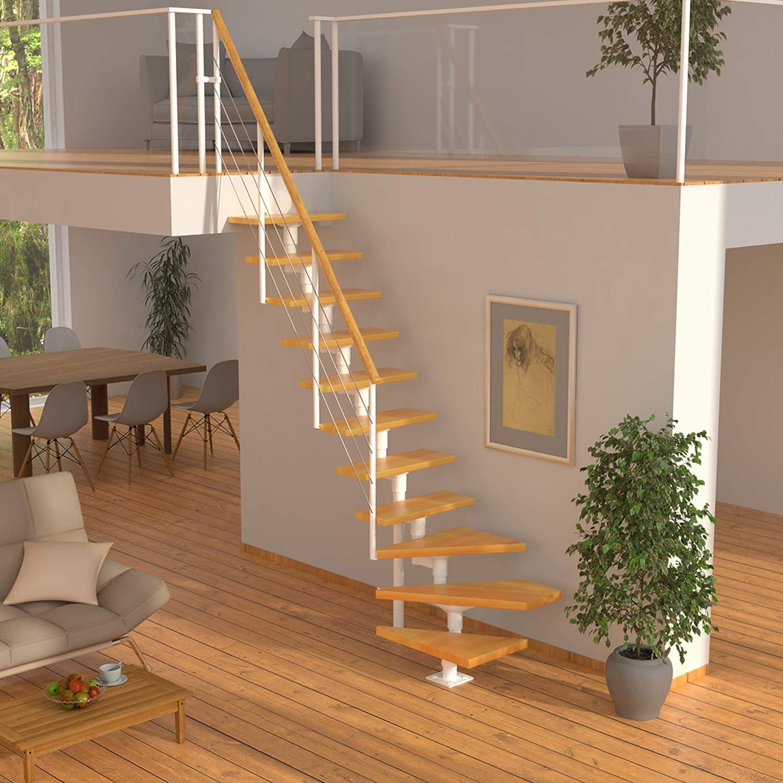 /¼-gewendelt RAL 9016 DOLLE Mittelholmtreppe Boston Unterkonstruktion: Wei/ß Buche 11 Stufen | volle Stufen 70 cm inkl Gel/änder 300 cm lackiert Nebentreppe Geschossh/öhe 228