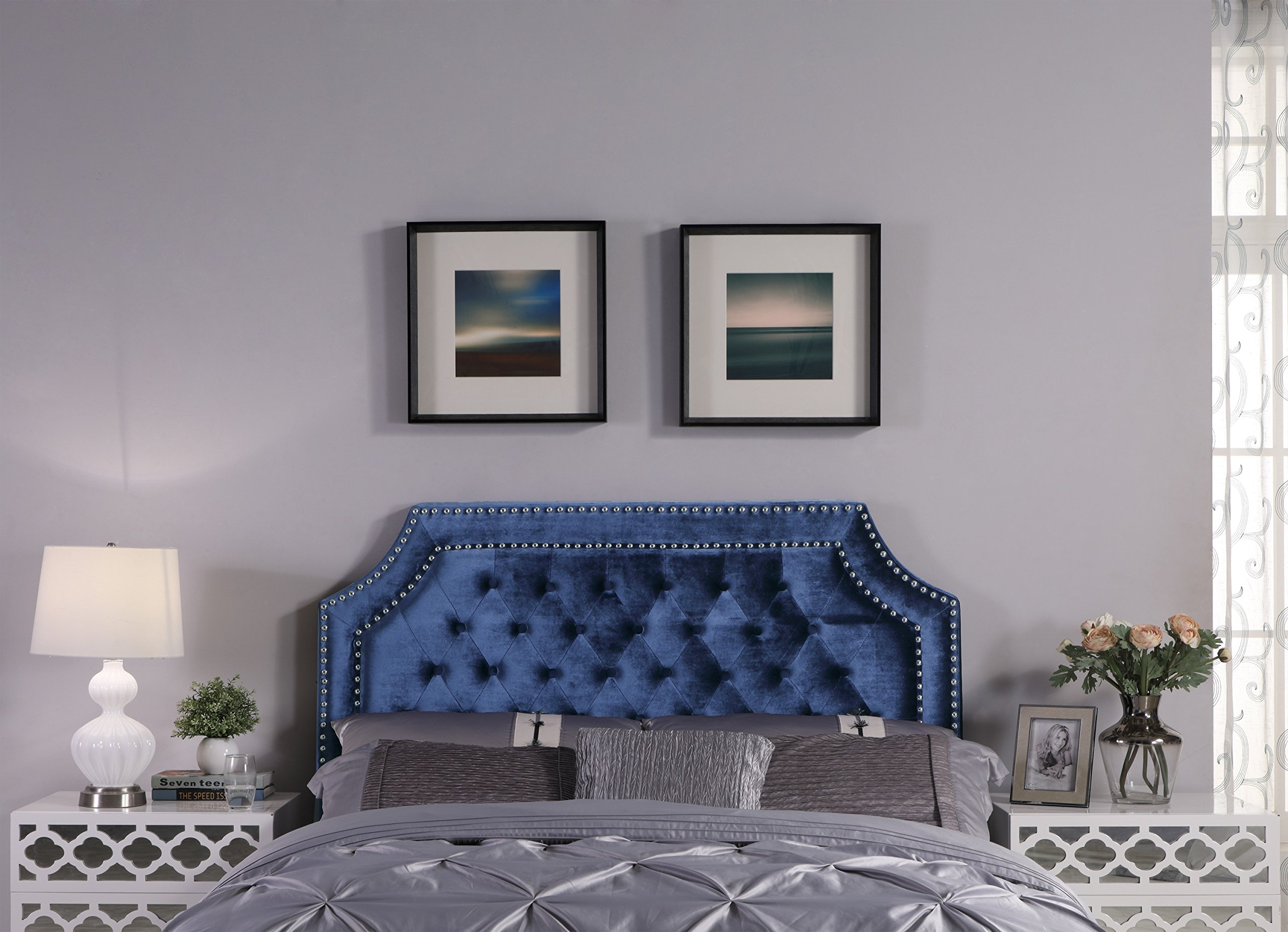 Iconic Home FHB9012-AN Chava Headboard Velvet Upholstered Button Tufted Double Row Silver Nailhead Trim Modern Transitional, King, Navy by Iconic Home
