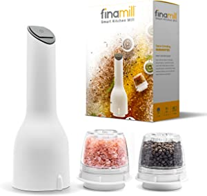 FinaMill Electric Grinder – Grind Pepper, Salt and More. Store Each Dried Spice In Separate Interchangeable Pod, Swap With One Hand. Uses 3 AA Batteries, NOT Included. 1 Mill 2 Pods Included- White