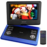 10.5'' Tragbarer DVD-Player, 4 Stunden Akku, schwenkbaren Bildschirm, unterstützt SD-Karte und USB, mit Spiele-Joystick, Auto-Ladegerät--Blau
