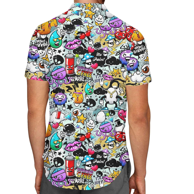 Queen of Cases Cute Graffiti Mens Button Down Short Sleeve Shirt