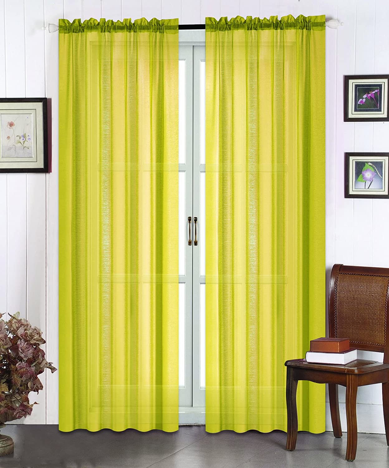 All American Collection New 2pc Doli Sheer Curtain Mustard Yellow