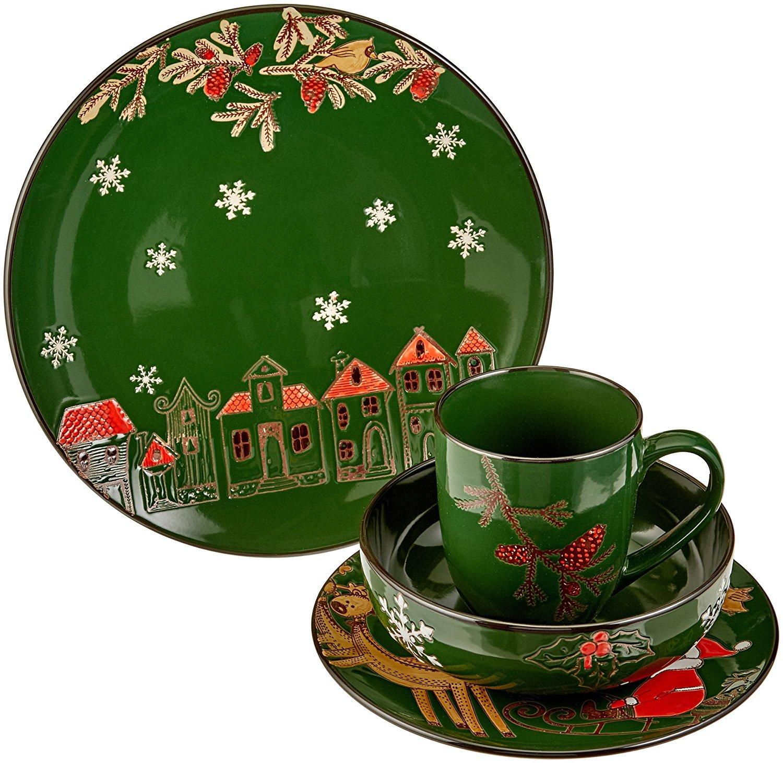 Francois et Mimi 16 Piece Ceramic Christmas Dinnerware Set (Green)