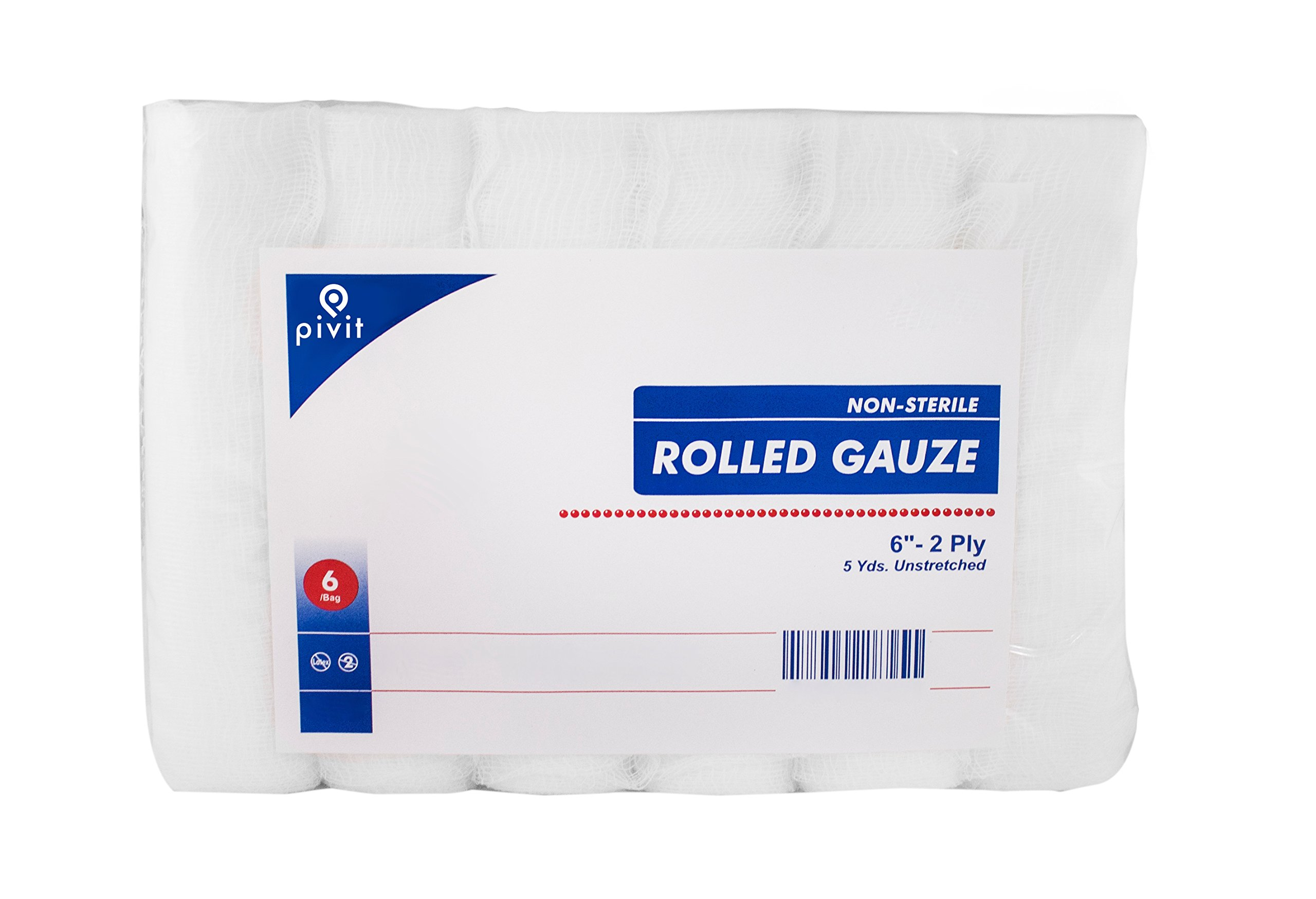 Pivit Non-Sterile Gauze Wrap Rolls | 6'' x 5 YDS 2-Ply | Pack of 6 | 100% Woven Cotton Bandages Just Stretch Wrap Cut | Fast-Wicking Absorbent and Breathable | Easily Conforms to Hands Ankles & Knees