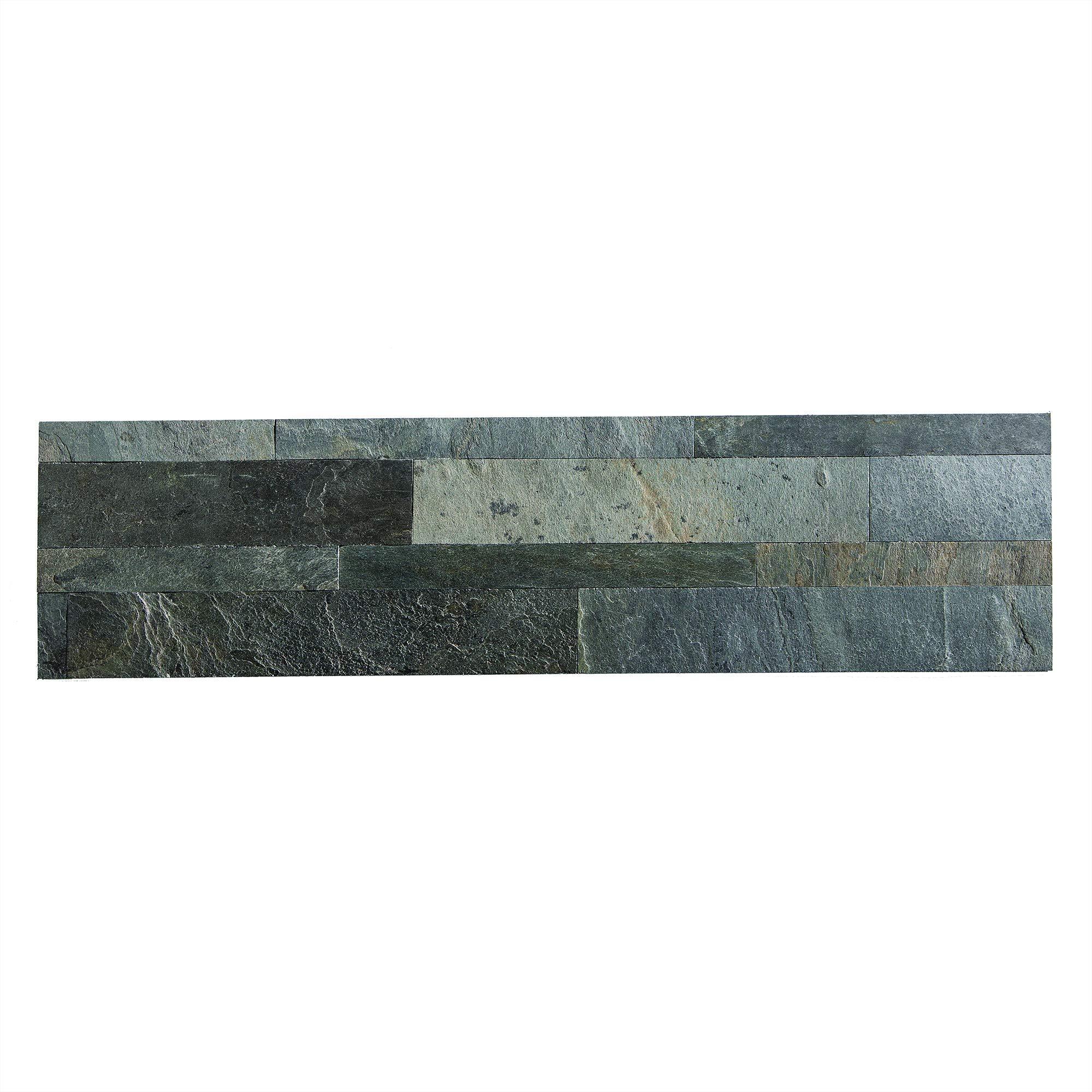 Aspect Peel and Stick Stone Overlay Kitchen Backsplash - Iron Slate (5.9'' x 23.6'' x 1/8'' Panel - Approx. 1 sq ft) - Easy DIY Tile Backsplash