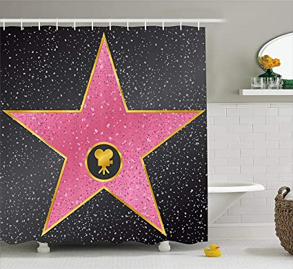 Artistic Dream Popstar Party Shower Curtain Hollywood Walk Of Fame Symbol Celebrity Entertainment Culture