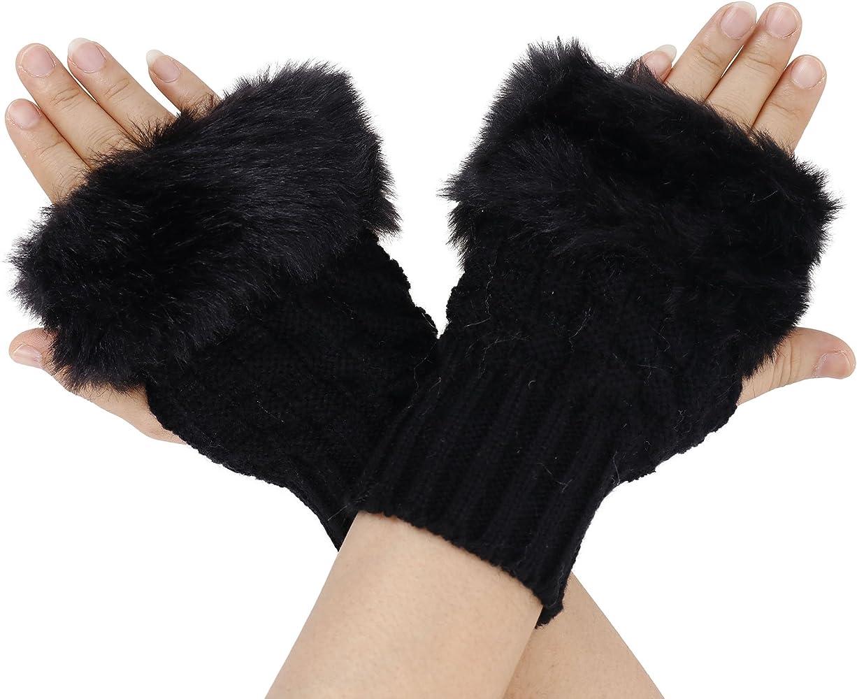 Ladies Fingerless Faux Fur Fluffy Winter Warmer Wrist Arm Knitted Mitten Gloves