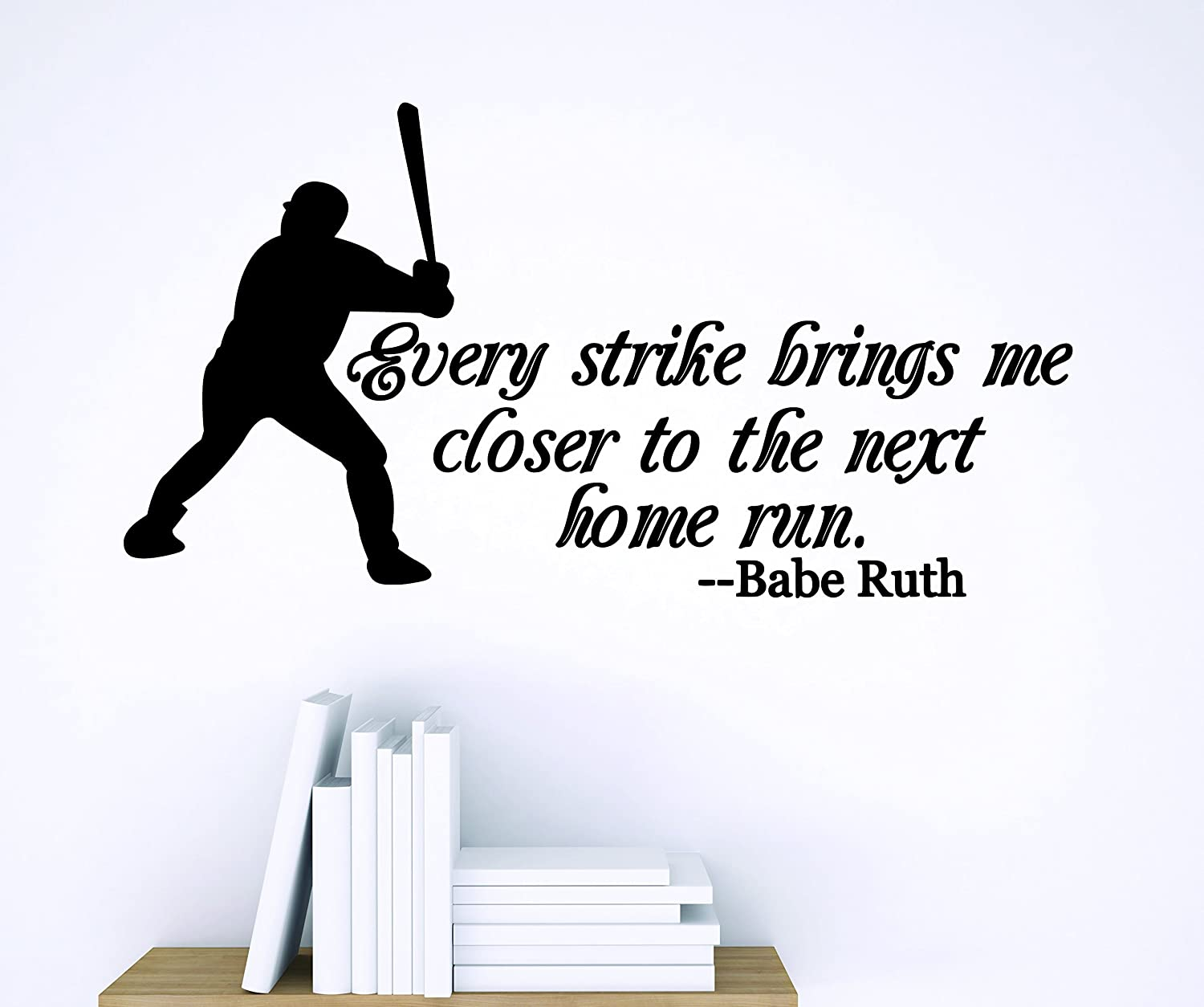 Design with Vinyl Zzz 844 2 Decor Item Every Strike Brings Me Closer to The Next Home Run Babe Ruth Quote Baseball Wall Sticker Decal, 16-Inch x 24-Inch, Black