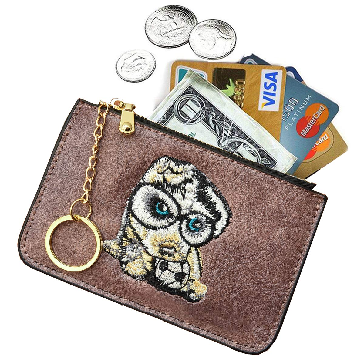 AnnabelZ Women's Coin Purse Change Wallet Embroidery Pouch Leather Card Holder with Key Chain Zip (Z-Purple Embroidery)
