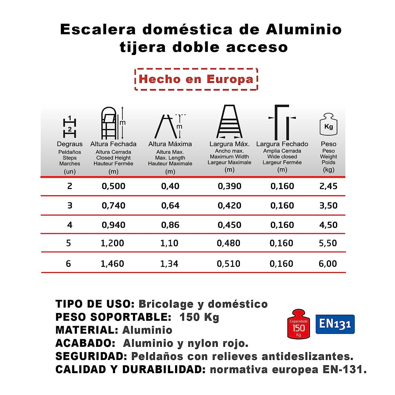 5 Pelda/ños NAWA Escalera Tijera Doble Acceso de Aluminio 5 Pelda/ños EN 131 Capacidad M/áx Hecho en Europa 150 kg