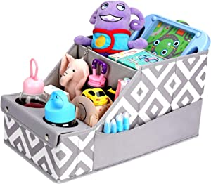 Collapsible Front & Backseat Car Organizer with Movable Dividers | Multifunctional Car Organization for Kids | Easy to Move and Clean & Large Capacity Seat Backseat Toys Storage (Gray)