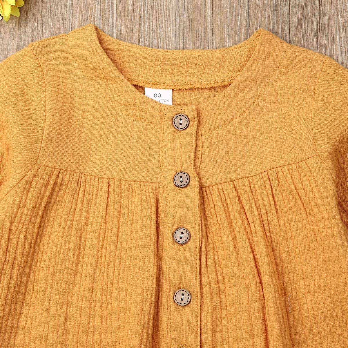 GWJGOGO Toddler Baby Girl Long Sleeve Cotton Linen Button T-Shirt Top Solid Color Dress with Pockets